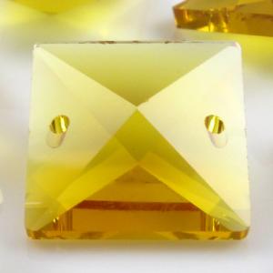Quadruccio 22 mm giallo cristallo vetro sfaccettato 2 fori