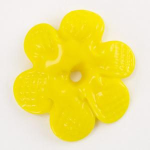 Rosellina a fiore in vetro di Murano colore pasta gialla fatto a mano Ø50 mm con foro centrale
