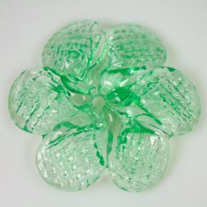 Rosellina a fiore in vetro di Murano colore verde chiaro fatto a mano Ø50 mm con foro centrale