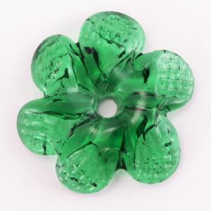 Rosellina a fiore in vetro di Murano colore verde fatto a mano Ø50 mm con foro centrale