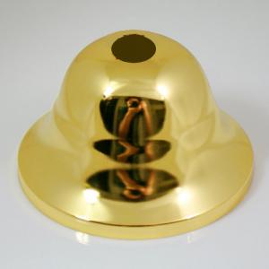 Rosone copri cavi per lampadario in ferro, finitura ottone brillante, 9 cm di diametro.