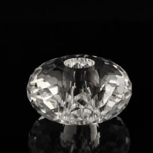 Sfera in cristallo molato e sfaccettato colore puro Ø50 mm h27 mm foro Ø14 mm passante