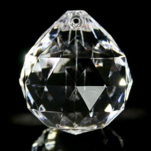 Sfera pendente Ø40 mm in cristallo acrilico, sfaccettata color cristallo