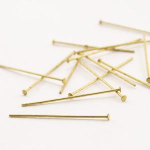 Spillo a chiodo ottone brillantel 40 mm per cristalli e perle filo 0,8 mm