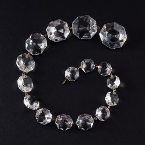 Strenna pendente ottagoni cristallo Boemia in gradazione. Lunghezza 36 cm.