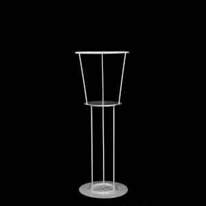 Struttura da tavolo porta candela, porta fiori e aggancio cristalli, bianco verniciato.