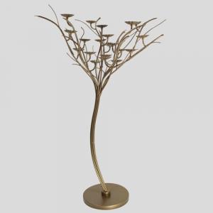 Struttura metallica sagomata ad albero, color bronzo con 21 piattini portalampade Ø75 x h110 cm.