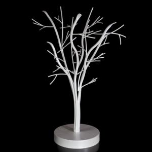 Struttura metallica, color bianco perla, sagomata ad albero con circa 9 rami e 66 fori, altezza 500 mm