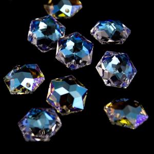 Swarovski - Cristallo esagono doppio foro mm 14x12 Aurora Boreale 8136