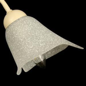 Tazza calla paralume ricambio lampadario vetro bianco effetto scavo. Foro Ø30 mm