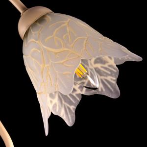 Tazza campanula 6 punte paralume ricambio lampadario vetro bianco satinato con scanalutre color avorio. Foro Ø30 mm