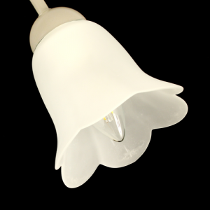 Tazza campanula 6 punte tonde paralume ricambio lampadario vetro effetto bianco seta. Foro Ø 3 cm
