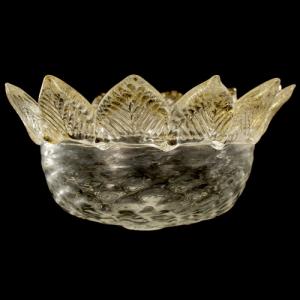 Tazza ricambio vetro Murano Ø12 cm color cristallo e oro MC con 11 punte.