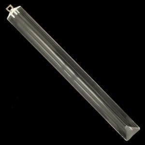 Triedro pendente L 28 cm in vetro di Murano cristallo trasparente con taglio a 45°