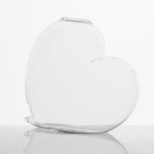 Vaso a cuore 15 cm vetro cristallo trasparente. Centrotavola per matrimoni, porta fiori, segnaposto