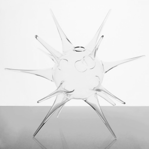 Vaso a riccio in vetro soffiato cristallo trasparente 20 cm. Decorazione per matrimoni, centrotavola, porta candela