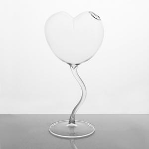 Vaso di vetro cristallo trasparente a cuore 24 cm. Contenitore per fiori, porta essenze, porta profumi