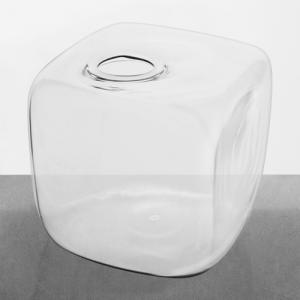 Vaso in vetro a cubo 11 cm in cristallo trasparente. Porta fiore, diffusore, porta essenze