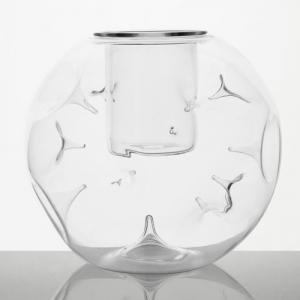 Vaso in vetro a sfera con spini Ø17 cm in vetro trasparente cristallo con bicchierino. Segnaposto, centro tavola, porta candela