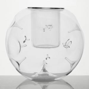 Vaso in vetro con spine Ø15 cm in cristallo trasparente con bicchierino interno. Porta fiori, centrotavola, porta tealight