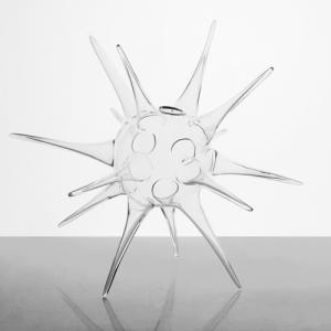 Vaso in vetro soffiato cristallo trasparente 20 cm. Vaso porta essenze, porta fiori, centrotavola