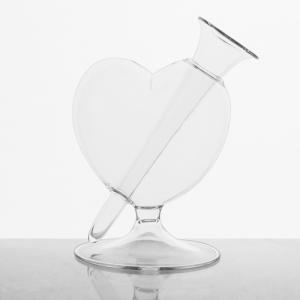 Vaso vetro soffiato trasparente a forma di cuore 16 cm con ampolla per fiori. Porta fiori, pota essenze, centrotavola
