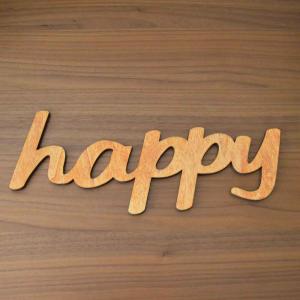 Scritta HAPPY da parete in legno di castagno fatta a mano 100% Made in Italy