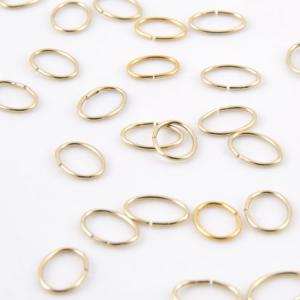 Anello ovale schiacciato 9 mm bagno oro