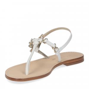 De Capri a Paris sandalo infradito nodino pelle bianca-4