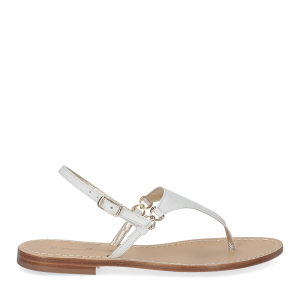 De Capri a Paris sandalo infradito triangolo pelle bianca-2