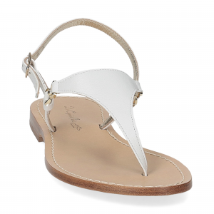 De Capri a Paris sandalo infradito triangolo pelle bianca-3