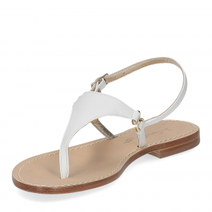 De Capri a Paris sandalo infradito triangolo pelle bianca-4