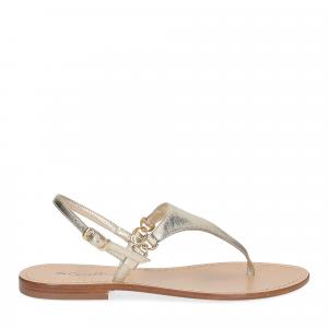 De Capri a Paris sandalo infradito triangolo pelle platino-2