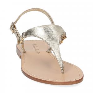 De Capri a Paris sandalo infradito triangolo pelle platino-3