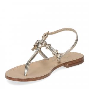 De Capri a Paris sandalo infradito nodino pelle platino-4