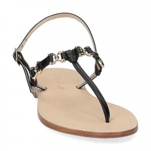De Capri a Paris sandalo infradito nodino pelle nera-3