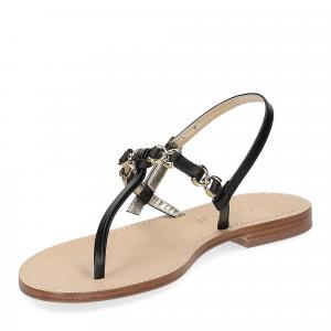 De Capri a Paris sandalo infradito nodino pelle nera-4