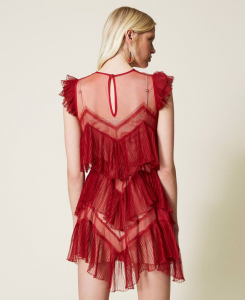 SHOPPING ON LINE TWINSET MILANO ABITO CORTO IN TULLE A BALZE PLISSE' PREVIEW FALL WINTER 2022