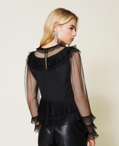 SHOPPING ON LINE TWINSET MILANO BLUSA IN TULLE CON BALZE PILSSE' PREVIEW FALL WINTER 2022
