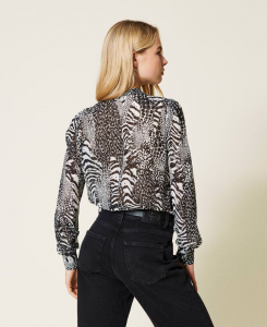 SHOPPING ON LINE TWINSET MILANO CAMICIA IN CREPONNE ANIMALIER PREVIEW FALL WINTER 2022