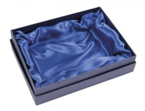 Scatola rettangolare blu con fondo raso