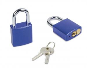 Lucchetto blu con chiavi