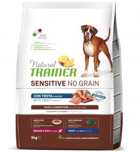 Trainer Natural Sensitive - No Grain - Medium/Maxi - Adult - Trota e Patate - 3 kg