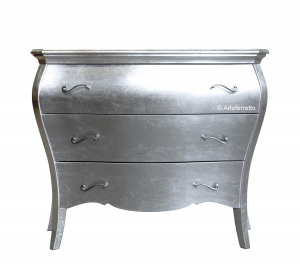 Shaped sideboard with silver leaf