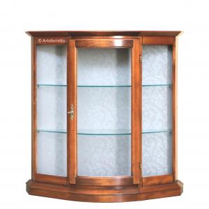 Vitrina baja en madera ahorra espacio 1 puerta redondeada