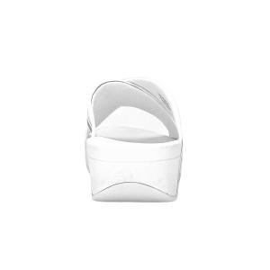 FitFlop - LULU METALLIC STRIPE SLIDES - Bianco/Argento