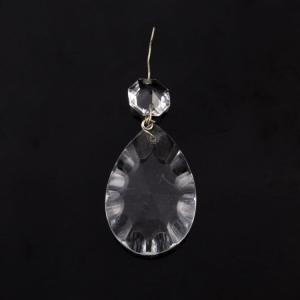 Mandorla placca in vetro cristallo disegno a Girasole con ottagono diametro 16 mm, montato con spillo nichel