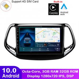 ANDROID autoradio navigatore per Jeep Compass 2 MP 2016 2017 2018 CarPlay Android Auto GPS USB WI-FI Bluetooth 4G LTE