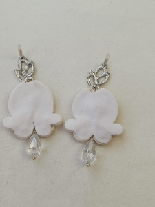 Boucles d'oreilles en soutache blanche | Bijouterie en ligne