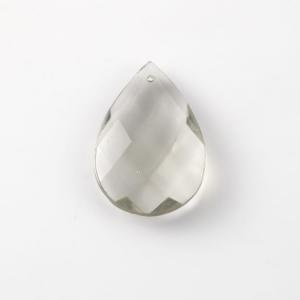 Mandorla in cristallo colorato di Boemia 50 mm grigio. Pendente goccia per restauro lampadari.